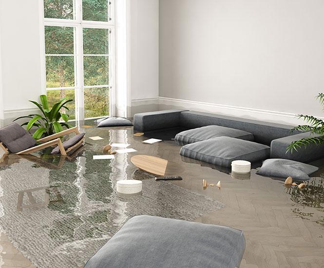 Flooded Living Room for Flood Damage Cleanup and Restoration in Johns Creek, GA